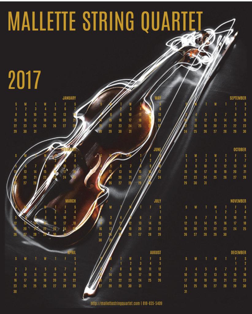 Mallette String Quartet Complimentary 2017 calendar with a violin